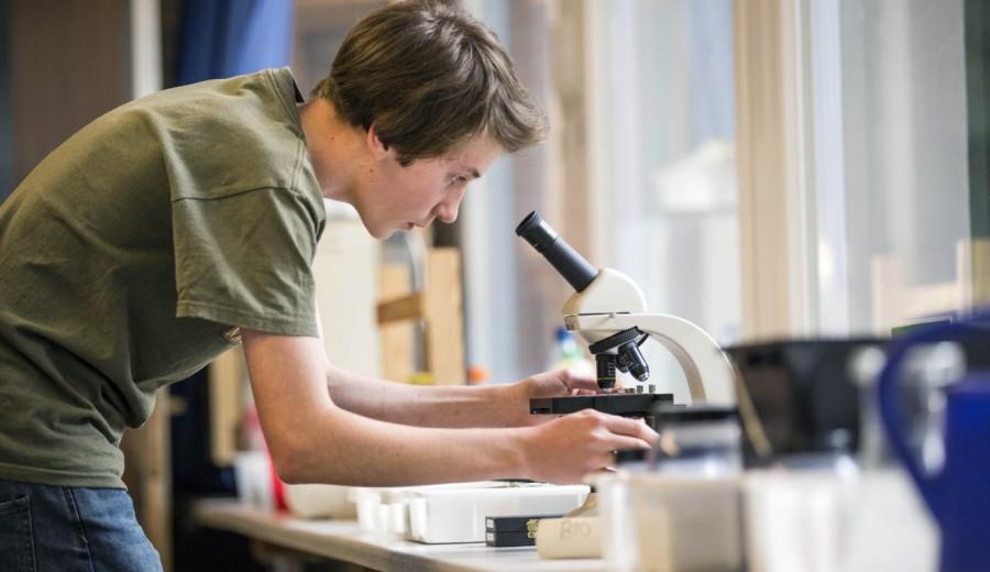 Hochrad Schüler am Mikroskop
